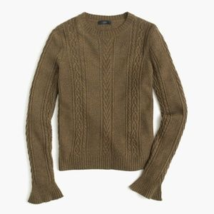 J, CREW Cable Sweater Ruffle Sleeve Olive {N13}